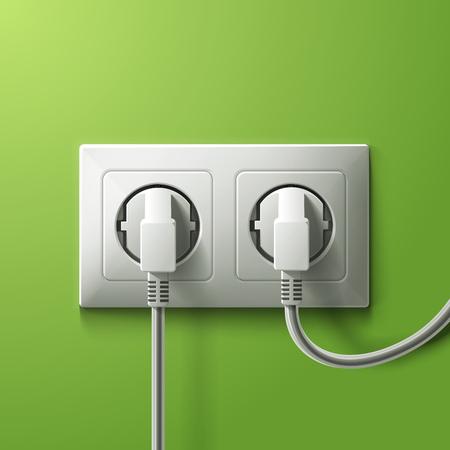 Realistische elektrische wit dubbel stopcontact en 2 stekkers aan groene muur achtergrond. RGB EPS 10 vector illustratie Stock Illustratie
