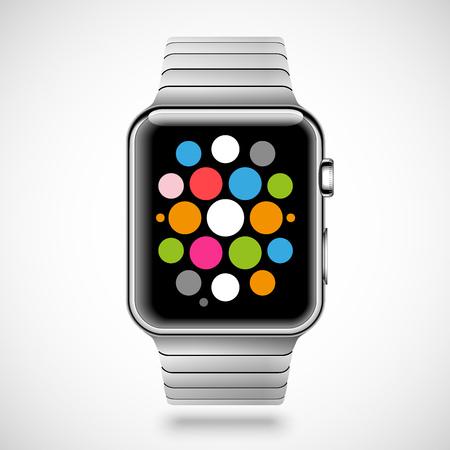 モダンな白い背景で隔離の画面上の鋼ブレスレットとアプリケーション アイコンと光沢のあるスマートな時計。RGB EPS 10 ベクトル図
