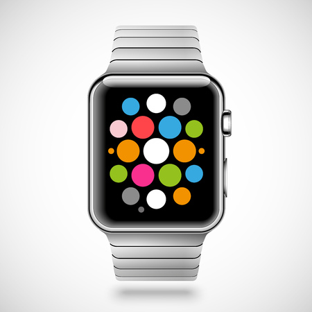 steel: Modern shiny smart watch with steel bracelet and applications icons on screen isolated on white background. RGB EPS 10 vector illustration