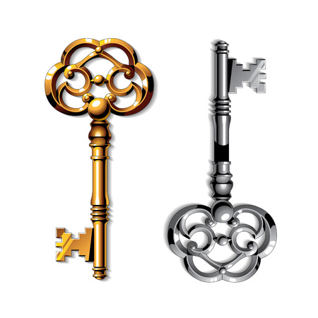 Gold and silver realistic vintage isolated keys on white background Vettoriali