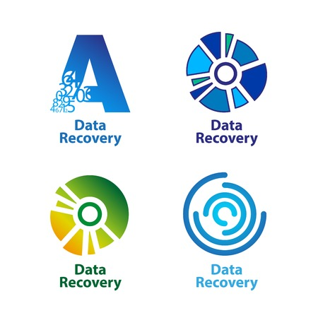 data recovery: Set of isolated blue and green data recovery company logos on white background. RGB EPS 10 vector illustration