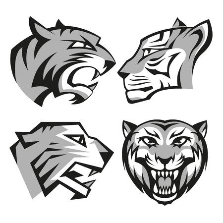 Black and grey tiger head logos set for business or shirt design. RGB EPS 10 vector illustration