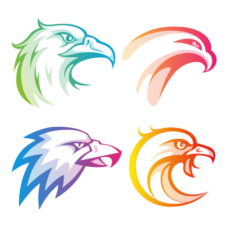 hawks: Colorful eagle head logos with rainbow gradients set on white background. RGB EPS 10 vector illustration