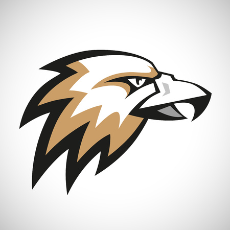 eagle feather: Black, grey and brown eagle head logotype on white background. RGB EPS 10 vector illustration