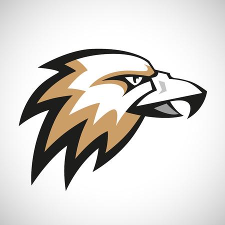 halcones: Negro, gris y marrón logotipo cabeza de águila sobre fondo blanco. RGB EPS 10 ilustración vectorial Vectores