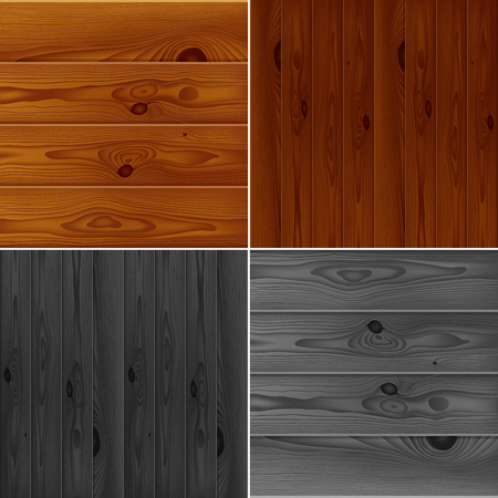grey backgrounds: Set of realistic brown and grey wood boards textures. Vintage wooden parquet planks backgrounds collection. RGB EPS 10 vector illustration
