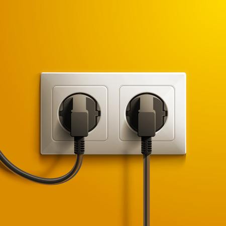 enchufe: Realista eléctrica blanca doble zócalo y dos tapones de plástico negro sobre fondo amarillo de la pared. RGB EPS 10 ilustración vectorial