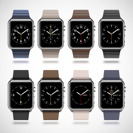 watch groups: Set of 8 modern shiny smart watches with soft modern buckle bracelets and leather loops isolated on white background. RGB EPS 10 vector illustration