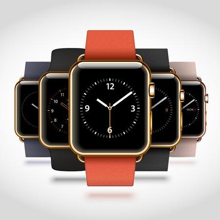 Set van 5 editie moderne glanzende gouden slimme horloges met zachte moderne gesp armbanden en sport bands op een witte achtergrond. RGB EPS 10 vector illustratie Stock Illustratie