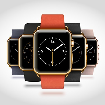 Set of 5 edition modern shiny golden smart watches with soft modern buckle bracelets and sport bands isolated on white background. RGB EPS 10 vector illustration