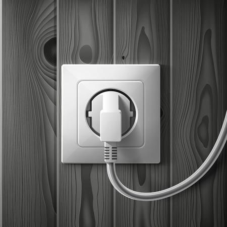 enchufe de luz: Realista toma blanca eléctrica y el enchufe en los tablones de madera de color gris oscuro textura de fondo. RGB EPS 10 ilustración vectorial