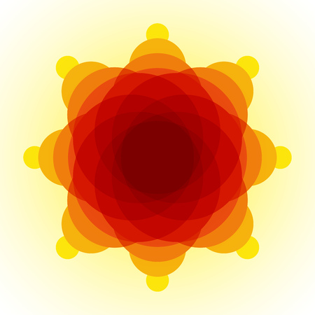 blended: Yellow, orange and red blended transparent circles on light yellow background. RGB EPS 10 vector illustration Illustration