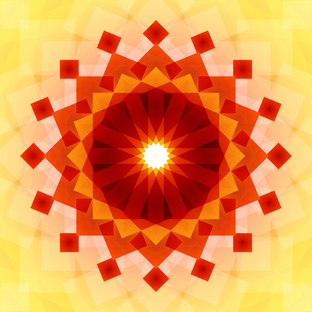 blended: Yellow, orange and red blended transparent rectangles circle mandala symbol on light yellow background. RGB EPS 10 vector illustration Illustration