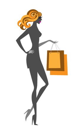 sexy teenage girl: Blonde glamour shopping girl with purchases. RGB EPS 10 vector illustration