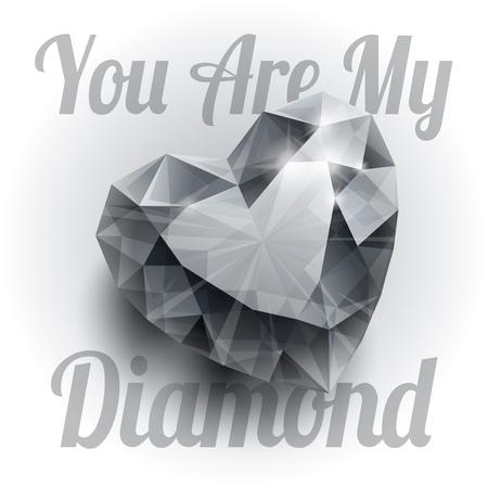 coeur diamant: Brillant isolé forme de coeur de diamant avec des ombres réalistes sur fond blanc. RVB EPS 10 T-shirt vecteur d'impression illustration