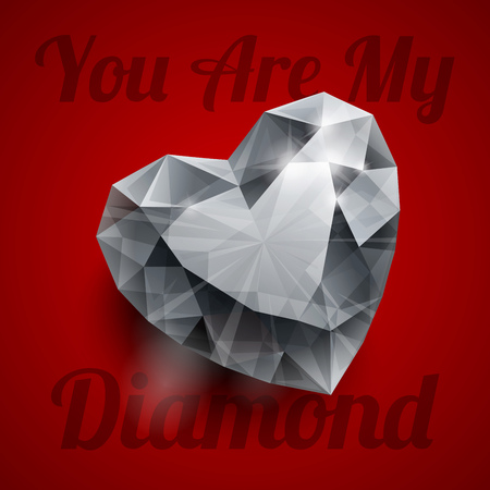 diamond heart: Shiny isolated diamond heart shape with realistic shadow and text YOU ARE MY DIAMOND lettering on dark red background. RGB EPS 10 T-shirt print vector illustration