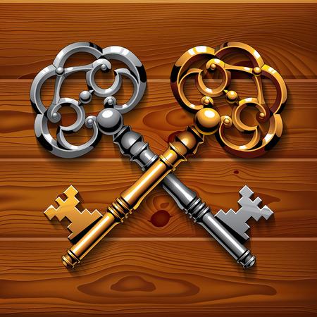 llaves: Oro y plata cruzaron teclas brillantes de la vendimia en la textura de fondo marr�n tableros de madera. RGB EPS 10 ilustraci�n vectorial