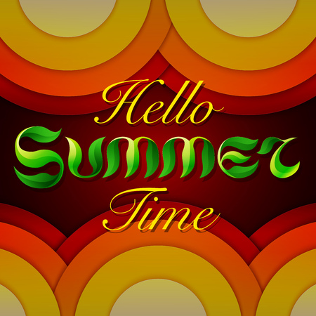 summer season: Hand drawn text HELLO SUMMER TIME lettering on abstract brown, red and orange circles background. RGB EPS 10 vector illustration Illustration