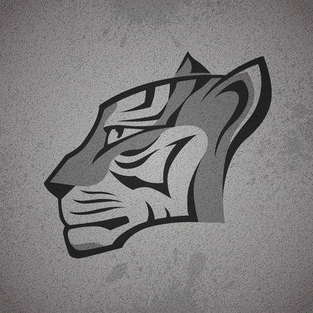 logo logotype: Black and grey tiger head logo on grey grunge concrete wall texture background. RGB EPS 10 vector illustration Illustration