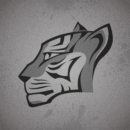 silueta tigre: Logotipo de la cabeza del tigre negro y gris en gris grunge muro de hormigón de textura de fondo. RGB EPS 10 ilustración vectorial Vectores