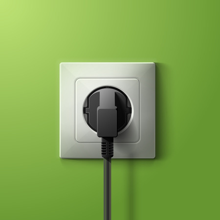 Realistic electric plastic white socket and black plug with transparent shadow on green wall background. RGB EPS 10 vector illustration