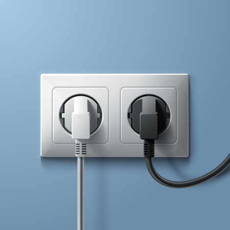 wall socket: Electric white and black plugs and white plastic socket on blue wall background. RGB EPS 10 vector illustration