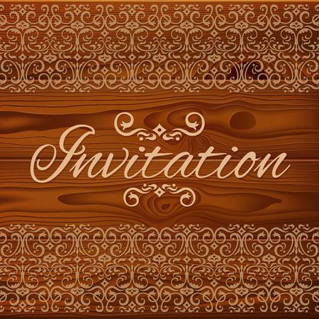 marco madera: tarjeta de invitación de la boda con el ornamento floral en los tablones de madera de color marrón textura. RGB EPS 10 ilustración vectorial