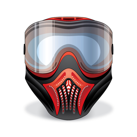 war paint: Red and black paintball mask with transparent goggles on white background Vectores