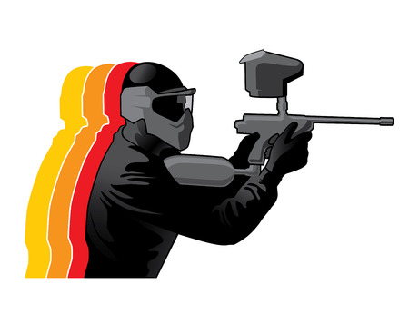solider: Paintball player in black uniform with marker gun