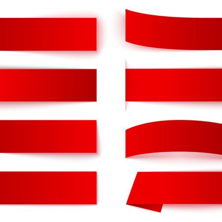 Reeks document rood lint banners met realistische schaduwen op een witte achtergrond. RGB EPS 10 vector illustratie Stock Illustratie