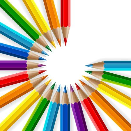 arc en ciel: Cercle des crayons de couleur arc en ciel avec des ombres réalistes sur fond blanc. EPS RVB 10 illustration vectorielle