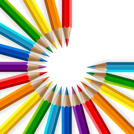 Circle of rainbow colored pencils with realistic shadows on white background. RGB EPS 10 vector illustration