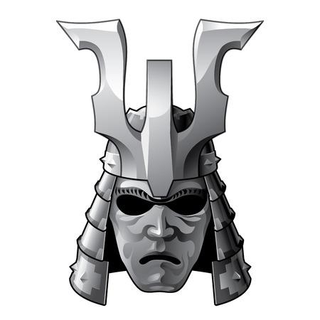 ronin: Japan traditional samurai helmet and mask. RGB EPS 10 vector illustration