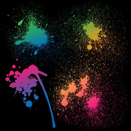 4 孤立したカラフルなグラデーション虹グランジ ペンキのセットは、黒い背景にはね。RGB EPS 10 ベクトル図