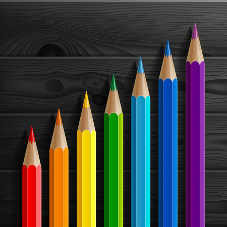 leading education: Infographic rainbow colored pencils diagonal growth chart on black wooden texture background. RGB EPS 10 vector illustration Illustration