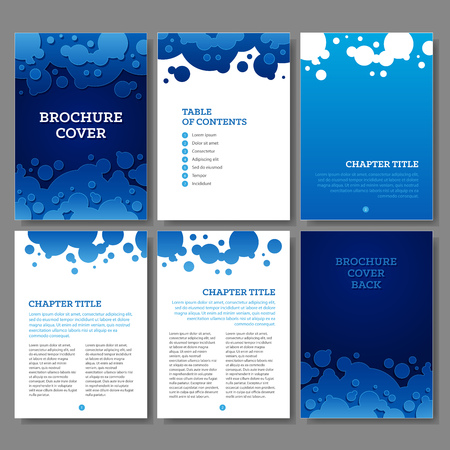 Cover, table of contents and 3 internal pages blue water drops and bubbles brochure design. RGB EPS 10 vector template