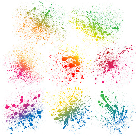 paint splat: Set of 8 isolated colorful gradient rainbow grunge paint splashes on white background. RGB EPS 10 vector illustration Illustration