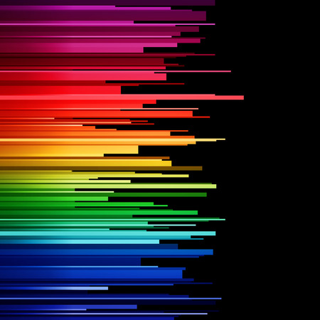 Abstract infographics horizontal rainbow gradient stripes cuts on white background. RGB EPS 10 vector illustration Çizim