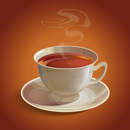 vapor: Isolated realistic white tea cup and saucer with vapor on brown background. RGB EPS 10 vector illustration
