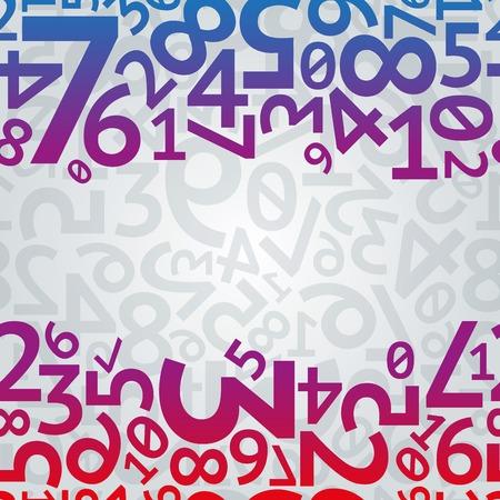 estadisticas: Resumen azul, números aleatorios gradiente púrpura y rojo sobre fondo dígitos sin fisuras patrón de color gris claro. RGB EPS 10 ilustración vectorial