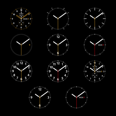 dials: Set of 11 modern smart watches white round dials on black background. RGB EPS 10 vector illustration