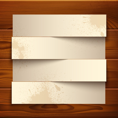 Vintage paper banners with realistic shadows on wooden texture background. RGB EPS 10 vector illustration