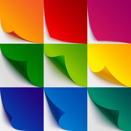 Reeks van 9 kleurrijke papier gekruld hoeken en pagina omslaan met realistische schaduwen op een witte achtergrond. RGB EPS 10 vector illustratie