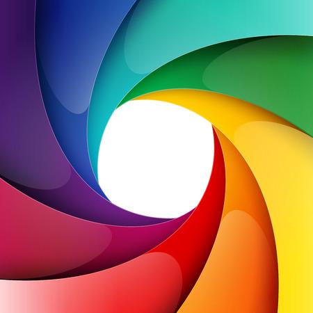 渦巻く虹層背景に光沢のある用紙。RGB EPS 10 ベクトル図