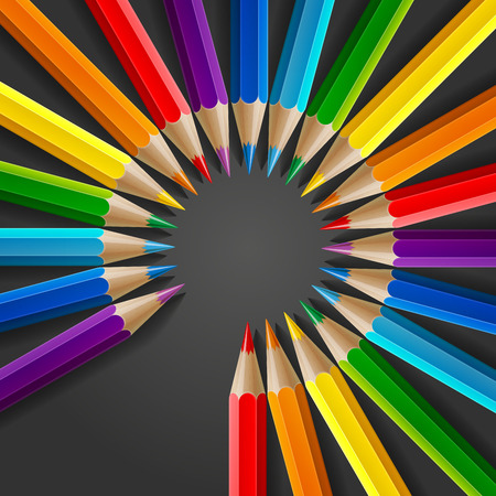 colours: Circle of rainbow colored pencils with realistic shadow on dark grey background. RGB EPS 10 vector illustration