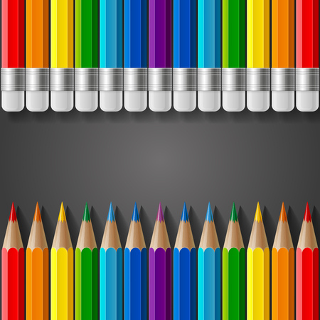 Rows of rainbow colored pencils with erasers and realistic shadows on dark grey gradient background. RGB EPS 10 vector illustration