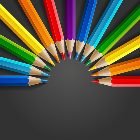 Semicircle of rainbow colored pencils with realistic shadow on dark grey background. RGB EPS 10 vector illustration Ilustração