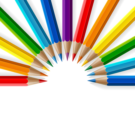 Semicircle of rainbow colored pencils with realistic shadows on white background. RGB EPS 10 vector illustration