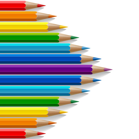 lead: Arrow shape of rainbow colored pencils with realistic shadows on white background. RGB EPS 10 vector illustration