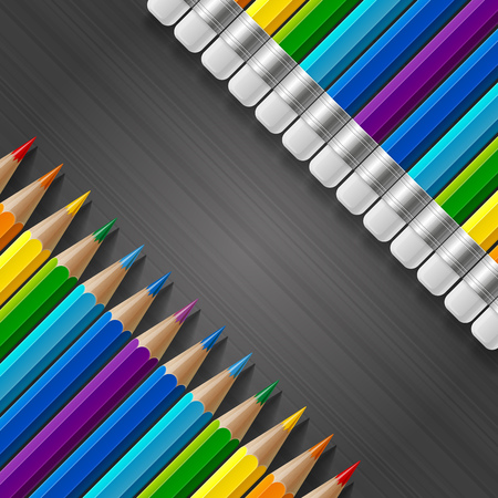 Two diagonal rows of rainbow colored pencils with erasers and realistic shadows on dark grey stripes gradient background. RGB EPS 10 vector illustration Banco de Imagens - 47622472